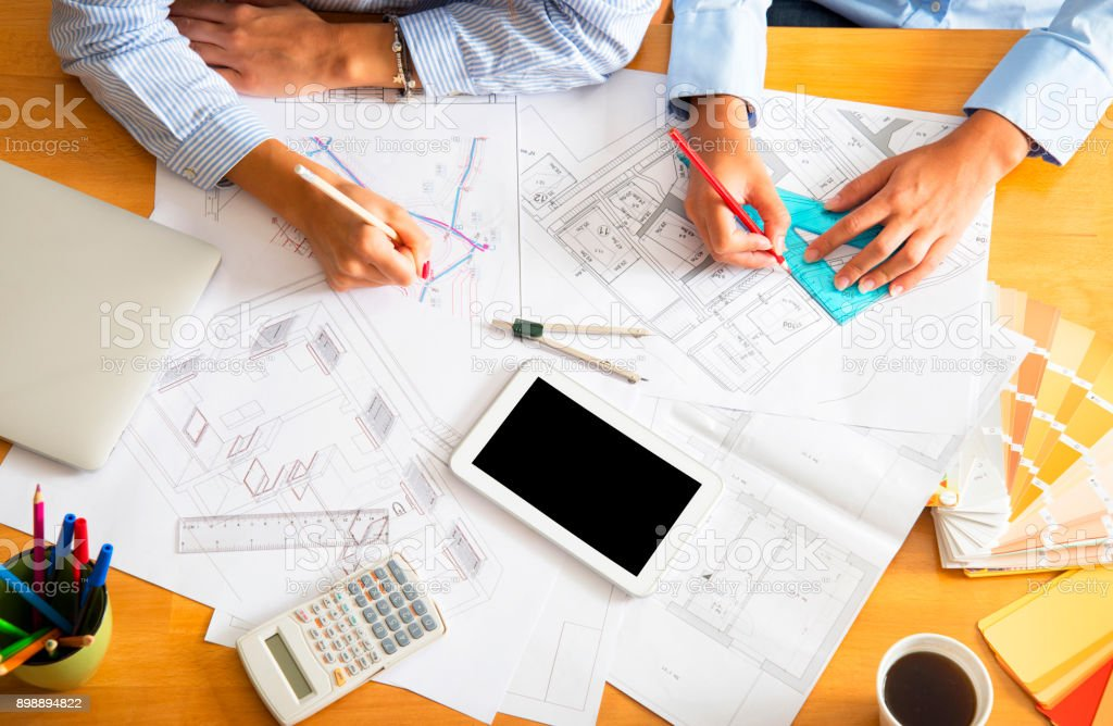 Women architects working in office