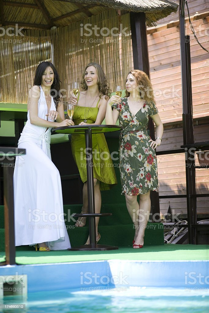 Women at bar with champagne royalty-free stock photo
