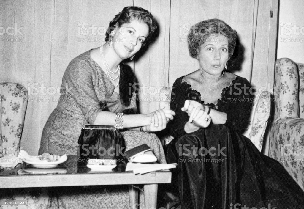 1960 Women at party royalty-free stock photo