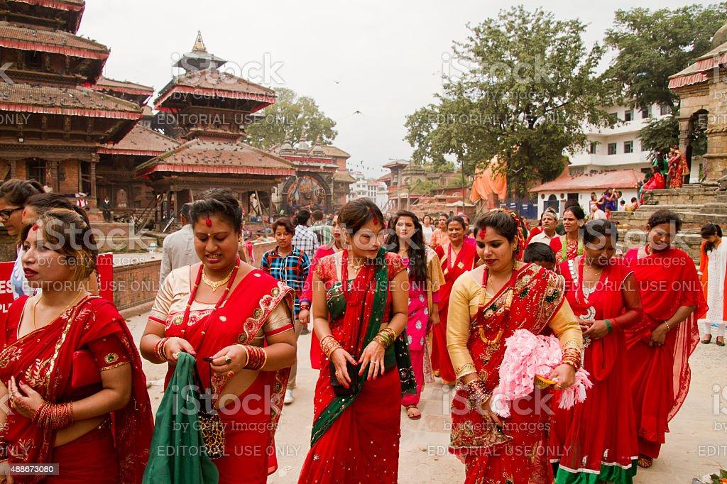Women at Teej festival, Durbar Square, Kathmandu, Nepal stock photo