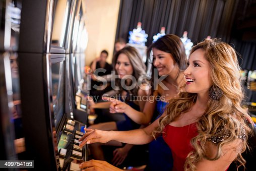 Women playing on the slot machines at the casino