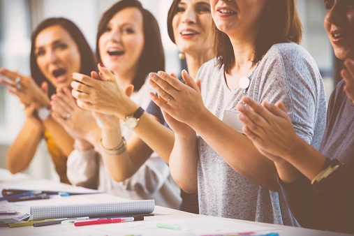 Women At The Seminar Clapping Hand Stock Photo - Download Image Now