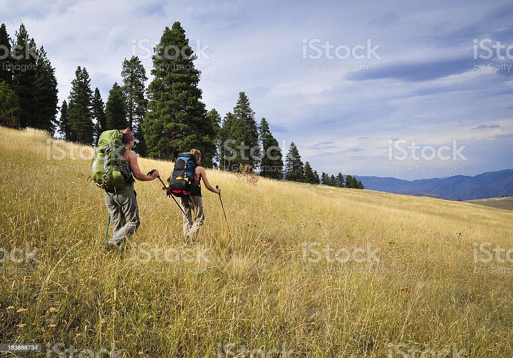 Women Backpacking royalty-free stock photo