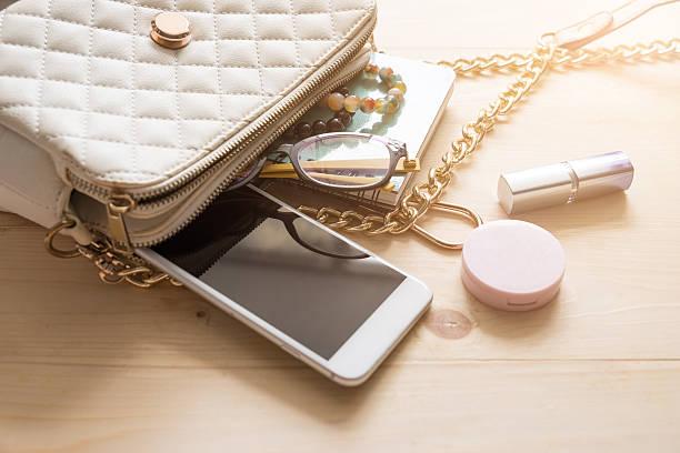 women bag and lady stuff - oggetti personali foto e immagini stock