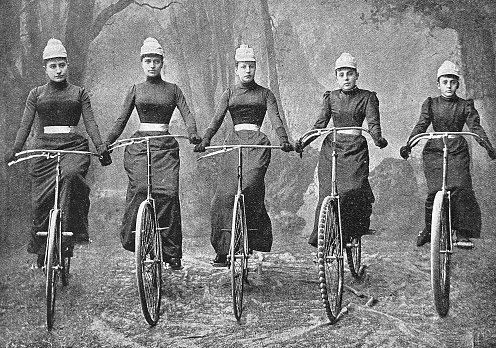 Women Bicycle Club Graz, Austria, five women in a row on their bicycles, front view