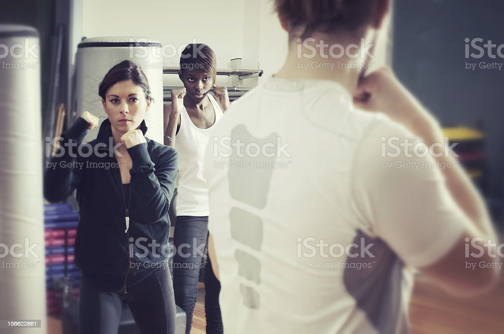 Women Boxer with their trainer stock photo