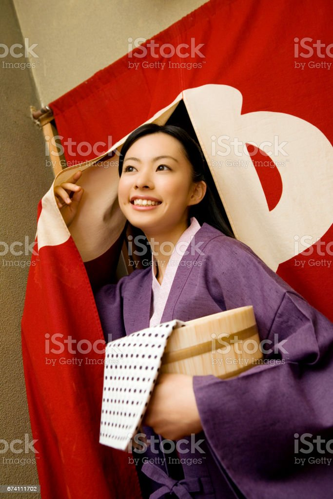 Women came out of the bath royalty-free stock photo