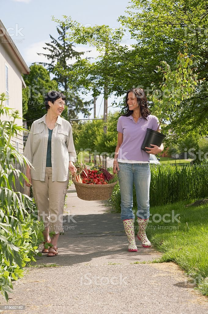 Women carrying a basket of fresh produce stock photo
