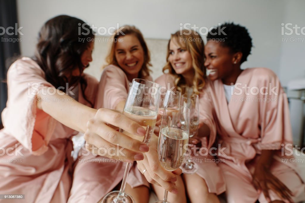 Women celebrate a bachelorette party of bride - foto stock