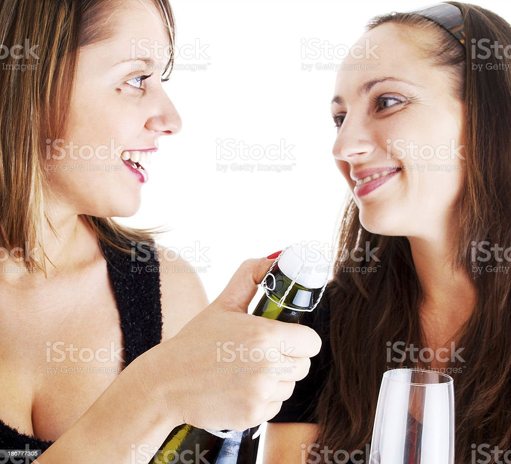 Women celebrating with champagne royalty-free stock photo