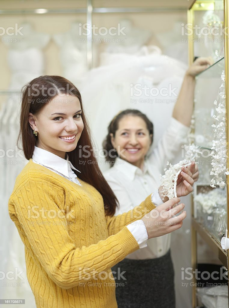 women  chooses bridal accessories royalty-free stock photo