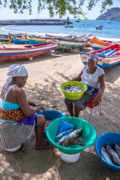 Mujeres limpieza pesca en Tarrafal - foto de stock