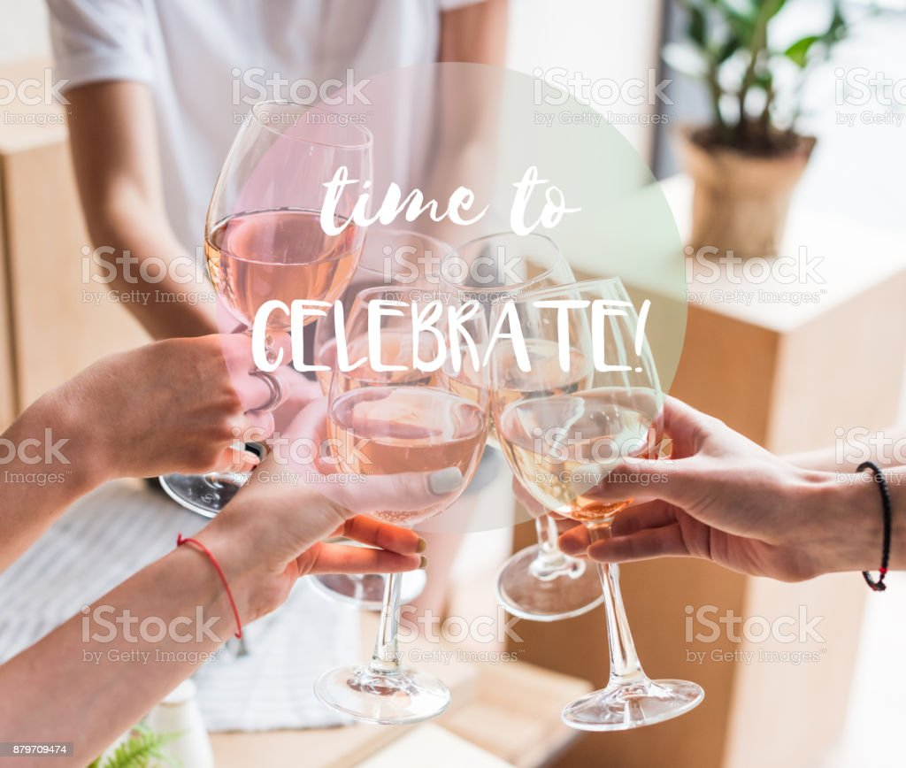 women clinking with wineglasses stock photo