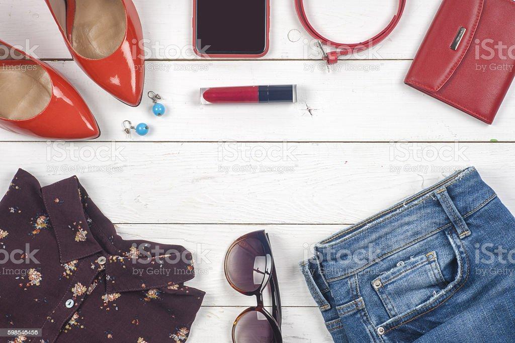 Women clothing set of cool stuff and accessories photo libre de droits