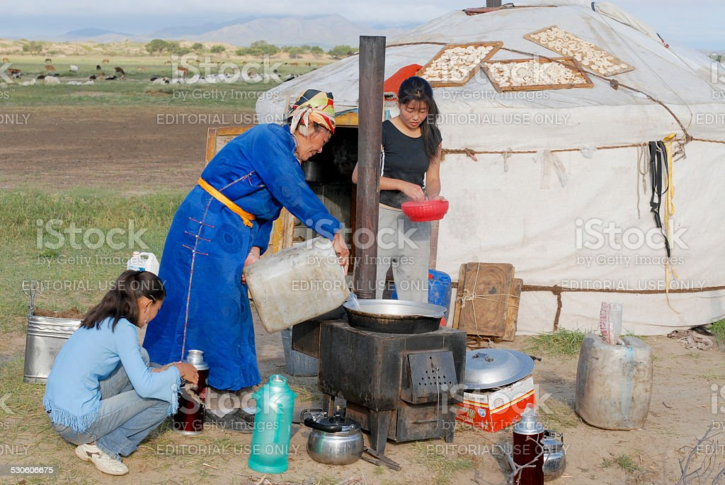 Women cook in front of the yurt in steppe, Mongolia. stock photo