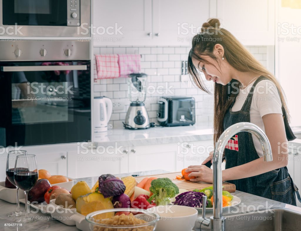 Women Cooking stock photo