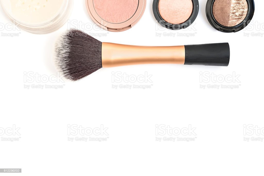 Women cosmetic and make up on white background stock photo