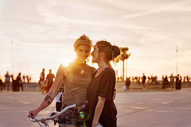 women couple in la - lesbian stock photos and pictures