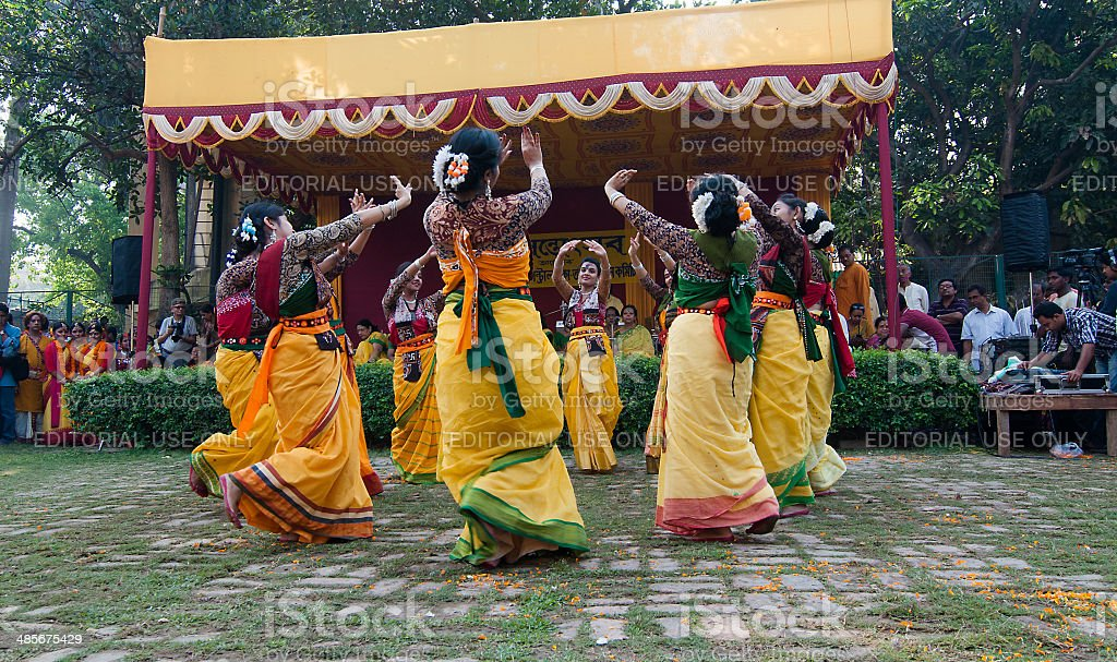 Women dancers performing in Holi celebration, India royalty-free stock photo