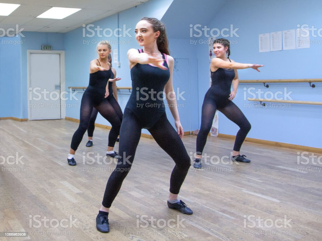 Women Dancers Practise A Modern Routine In Ballet Studio
