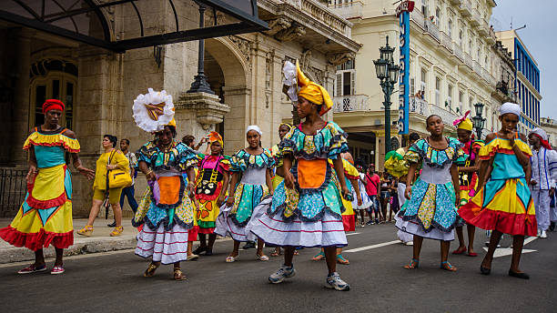 Women dancing in the street in Havana, Cuba stock photo