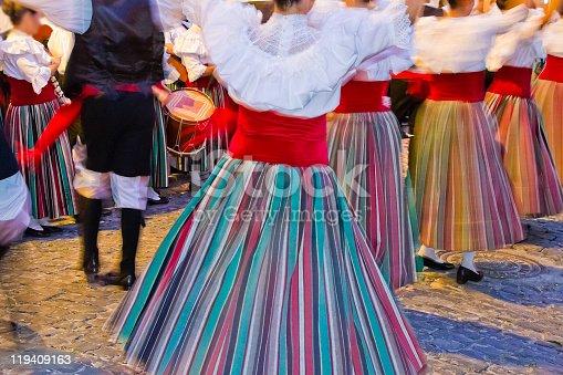 Canarian folk dance in traditional clothing during the Fiesta de Nuestra Señora de las Nieves. July, Santa Cruz de la Palma, La Palma, Canary Islands, Spain.