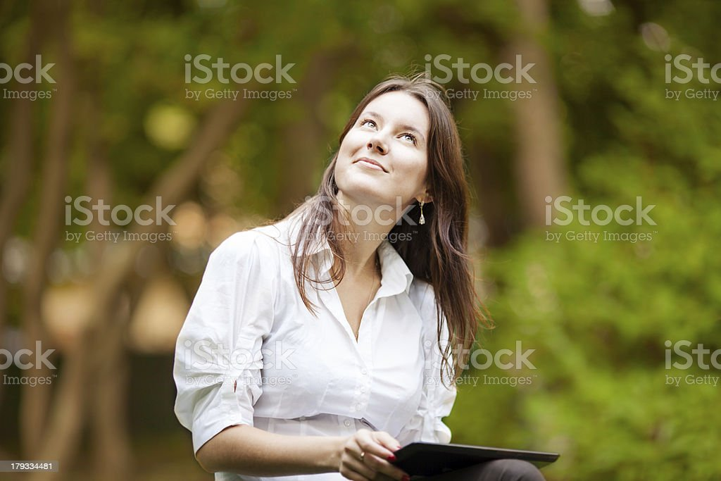 Women daydreaming royalty-free stock photo
