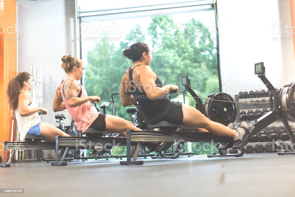 Women doing a cross training workout on the rowing machines stock photo