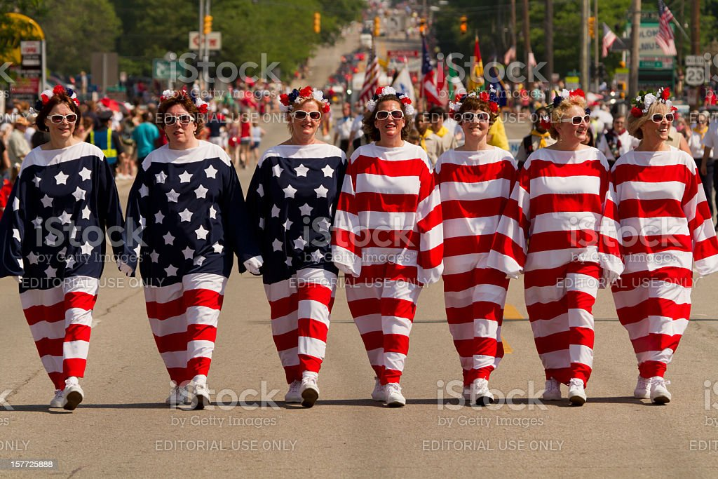 Women Dressed as a Living American Flag stock photo