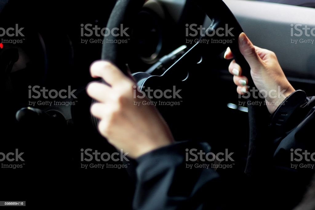 Women driving a car stock photo