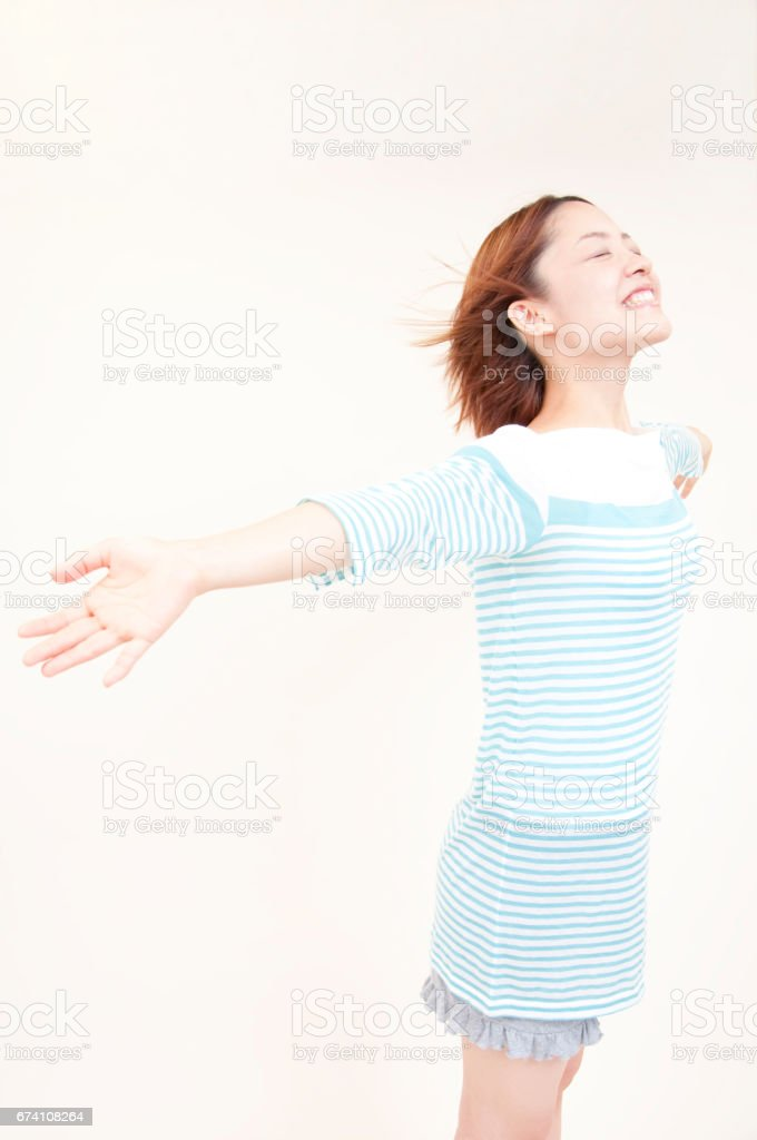 Women engaged in the wind royalty-free stock photo