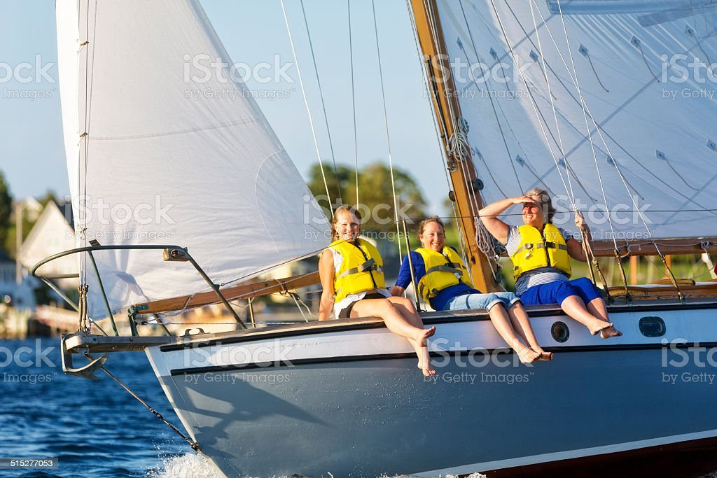 Women Enjoy a Day of Sailing stock photo