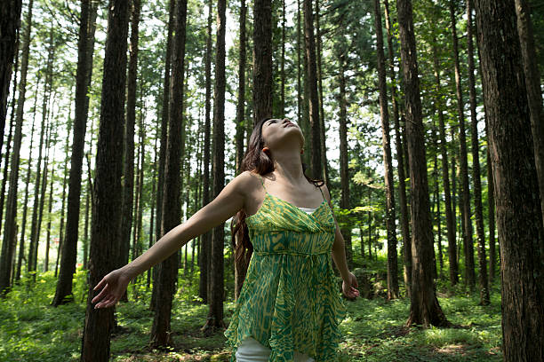 women enjoy the fresh air of the forest. - forest bathing foto e immagini stock
