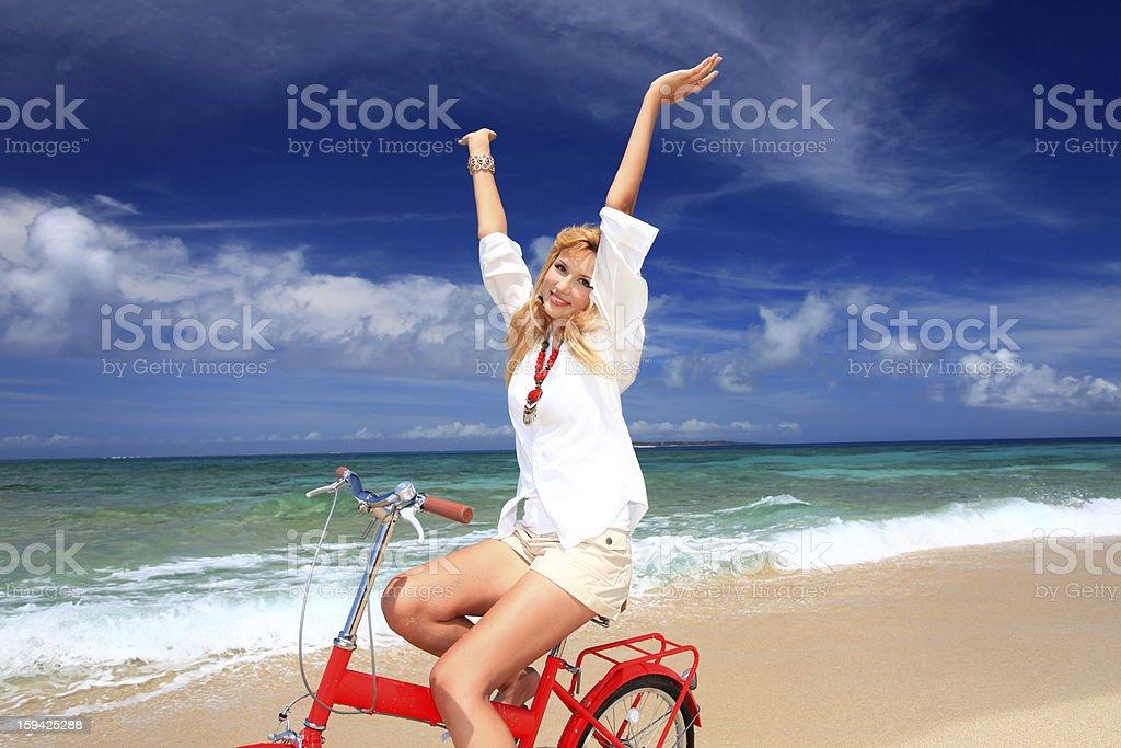 Women enjoy the sun. royalty-free stock photo