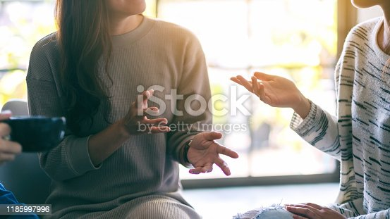 istock women enjoyed talking and drinking coffee together 1185997996