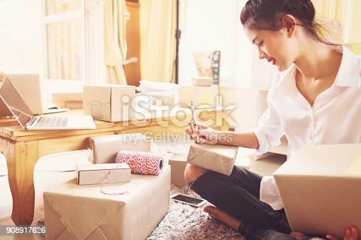 istock Women entrepreneurs success doing business at home. 908917626