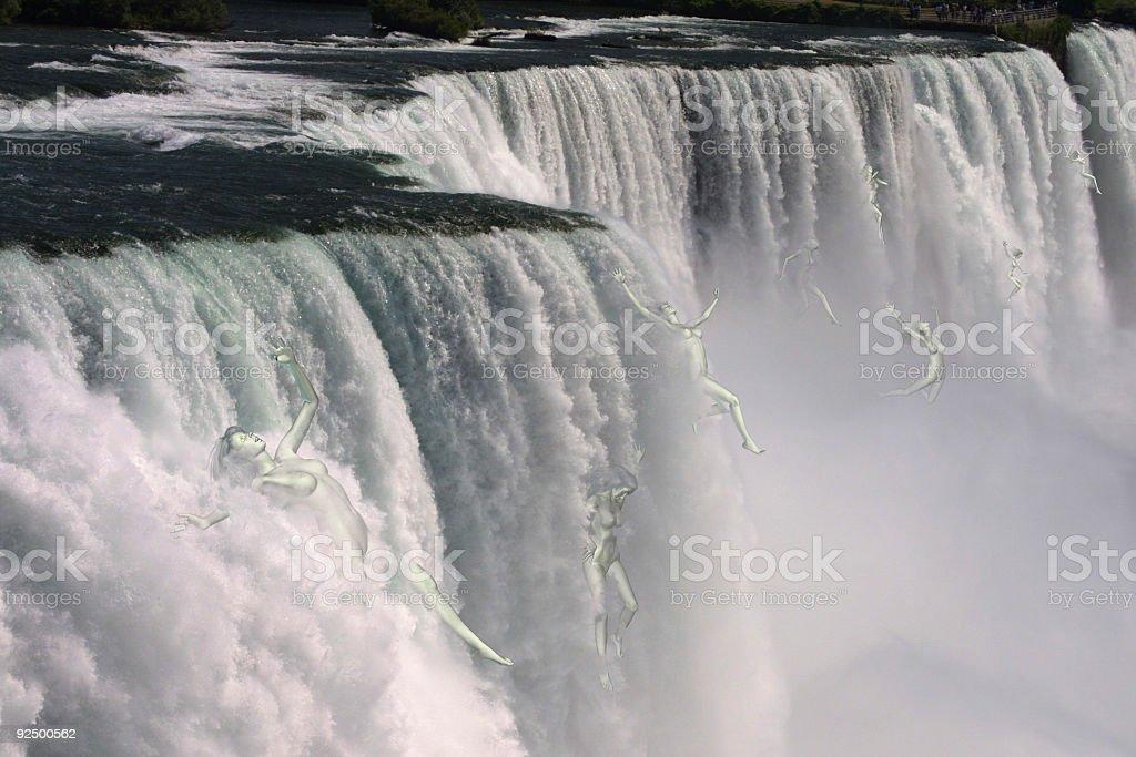 Women Falling over Niagara Falls royalty-free stock photo