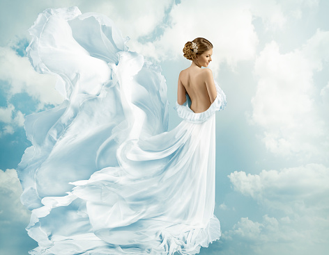 578573556 istock photo Women Fantasy Flying Gown, Waving Dress Blowing Wind 508903248