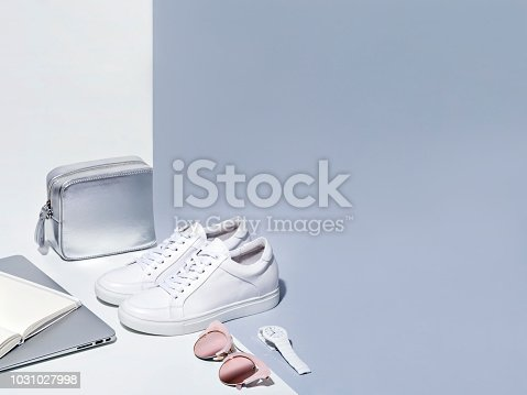 istock Women fashion accessories in white and gray colors. 1031027998