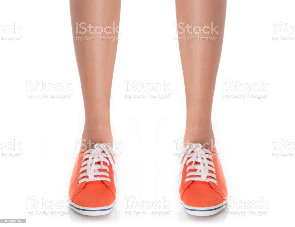 Pie Zapatos Usa Sneaker Mujeres Pies Fotografía En De Rojo Las nfznFq