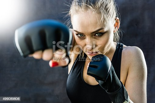 istock Women Fighter Punching Close Up 499089806