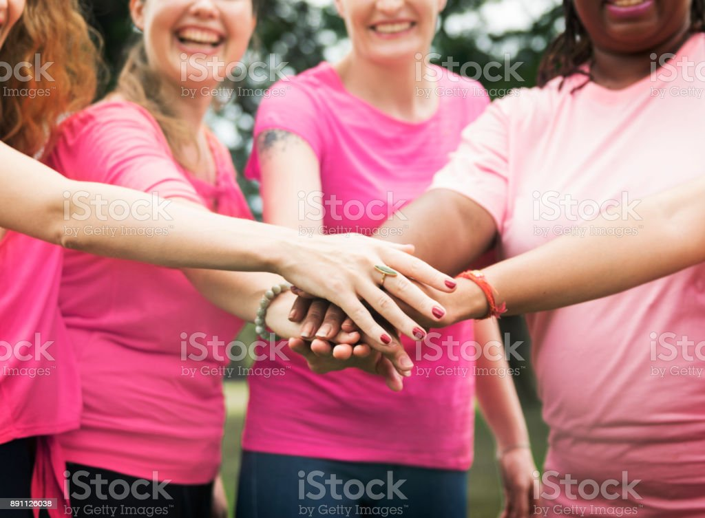 Women fighting breast cancer stock photo