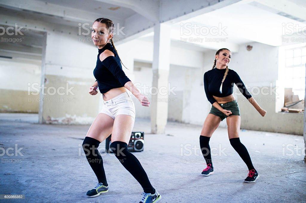 Women fitness and dancing zbiór zdjęć royalty-free