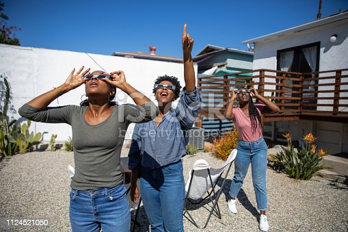Women friends at home enjoying solar eclipse looking at the sun with eclipse sunglasses