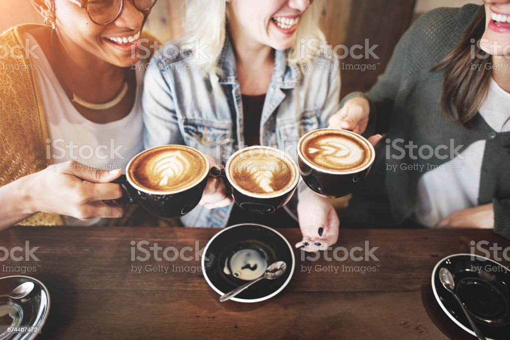 Women Friends Enjoyment Coffee Times Concept - foto stock