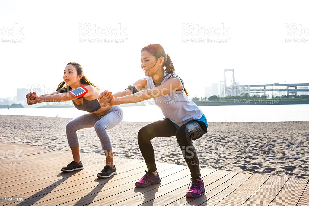 Women getting fit in the city - Tokyo stock photo