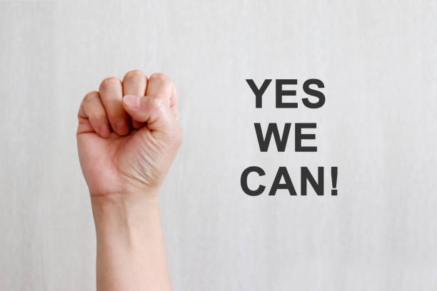 YES WE CAN, Women Girl Power. stock photo