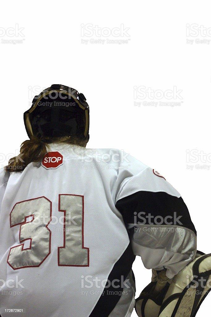 women goalie with white space stock photo