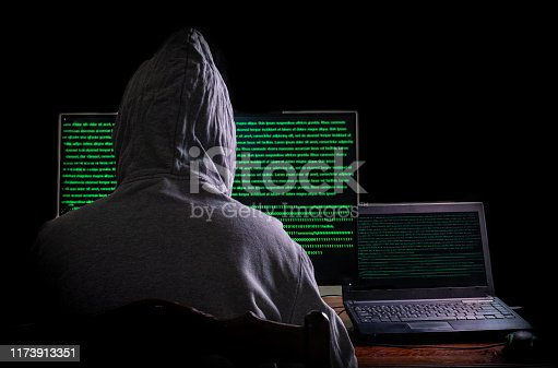 Women hacker breaks into government data servers and Infects Their System with a Virus at his hideout place has dark blue atmosphere, Lady hooded using laptop on binary code background , Malware concept