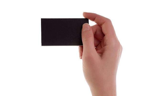 Women hand holding blank card stock photo